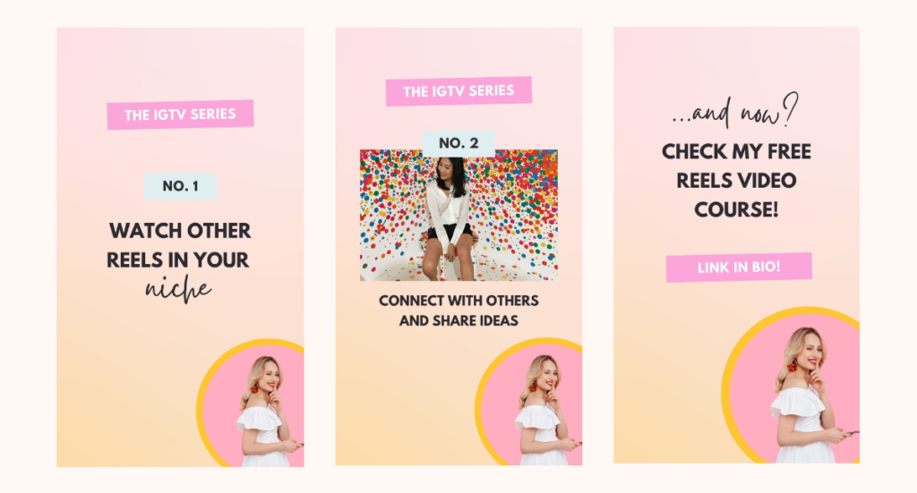 Engagement IG Story Idea: Share a mini training with step-by-step slides and an engaging CTA