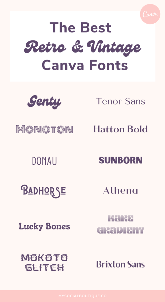 The best vintage and retro Canva fonts for your branding