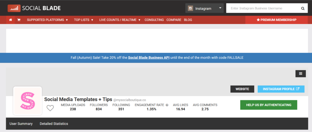 Calculate your post engagemenr rate with Socialblade